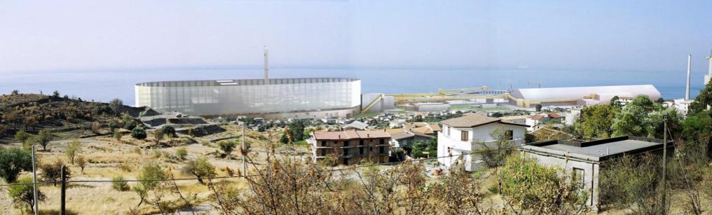 Semi-tranparentes Kunstwerk nach den Vorstellungen eines Designers. Projekt des Kohlekraftwerks Saline Joniche, 2008.