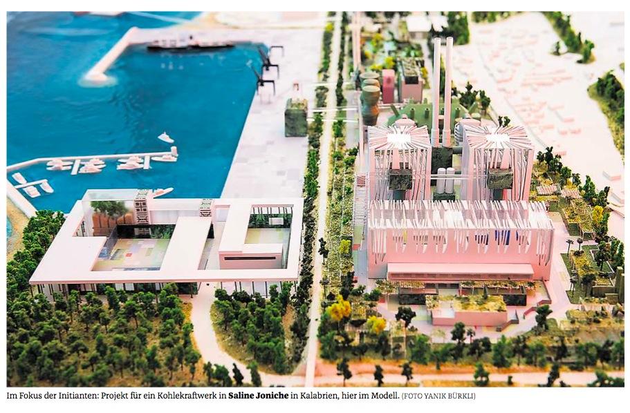 So hübsch und luftig hätte das Repower-Kohlekraftwerk in Kalabrien werden sollen, gemäss einer Präsentation durch Repower im Herbst 2013 — wenn man den Behauptungen glaubt. Nun wird sich das Projekt voraussichtlich allesamt in Luft auflösen. Das Bild erschien am 9. September 2013 im Bündner Tagblatt.