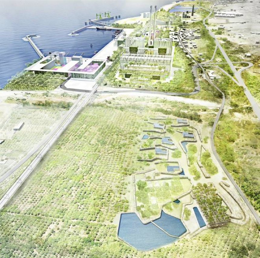 """Kohlekraftwerk mit Tarnkappentechnologie. Im Vordergrund ein Park als Teil der versprochenen """"Kompensation""""."""