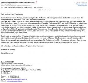 Email von Daniel Birchmeier, SECO, betreffend EBRD und u.a. Sostanj vom 2.2.2014