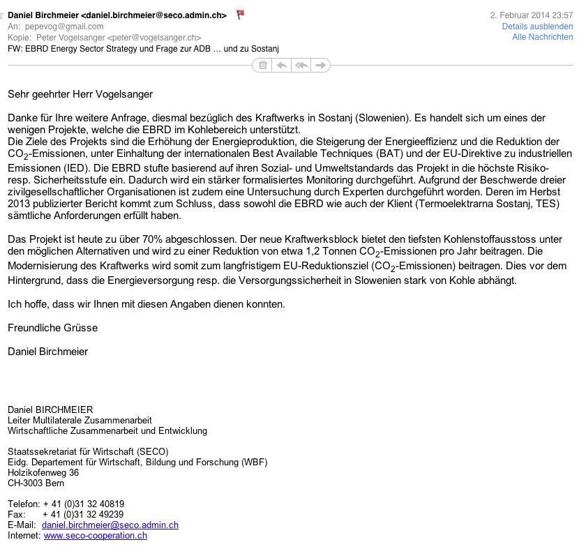 Antwort SECO auf Anfrage betr. EBRD/Sostanj