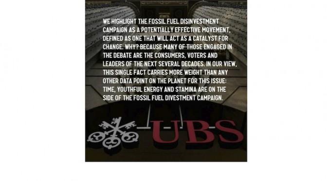 Die UBS in einem internen Papier über die Divestment-Kampagne.